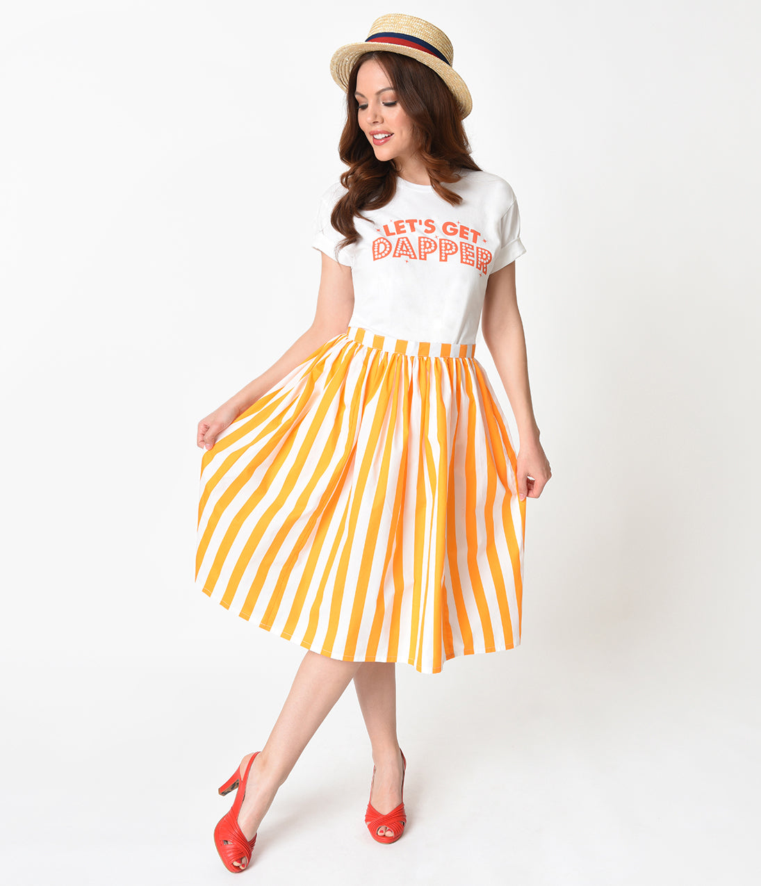 Sailor Dresses, Nautical Dress, Pin Up & WW2 Dresses Marigold Yellow  White Striped Gathered Cotton Swing Skirt $42.00 AT vintagedancer.com