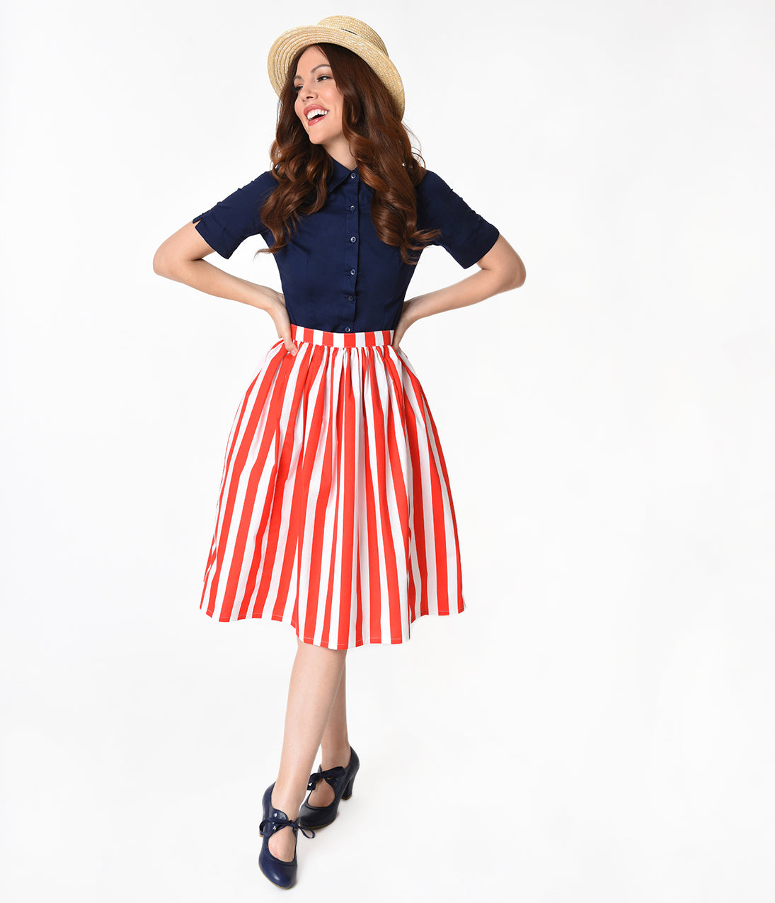 Sailor Dresses, Nautical Dress, Pin Up & WW2 Dresses Red  White Striped Gathered Cotton Swing Skirt $42.00 AT vintagedancer.com