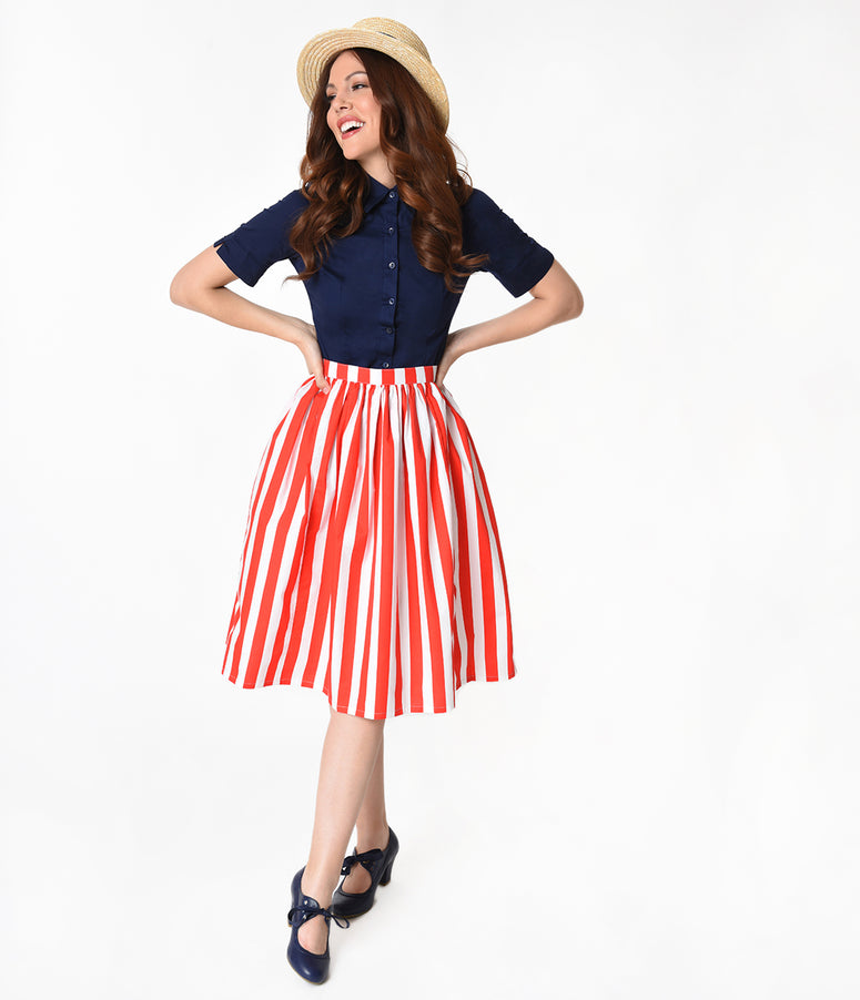 Red & White Striped Gathered Cotton Swing Skirt