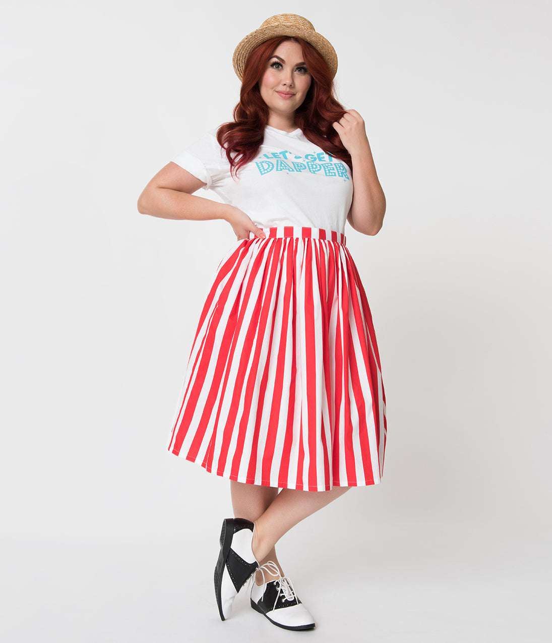 1950s Plus Size Dresses, Clothing | Plus Size Swing Dresses Plus Size Red  White Striped Gathered Cotton Swing Skirt $42.00 AT vintagedancer.com