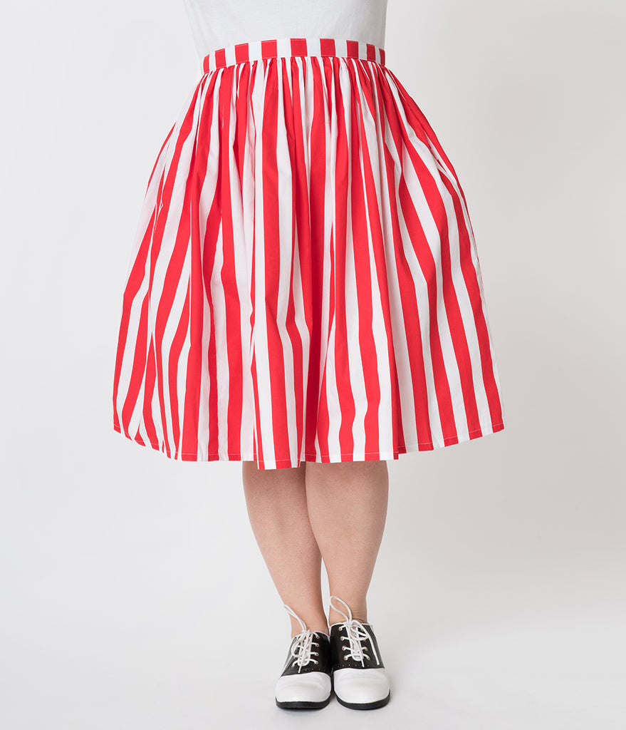 Plus Size Red & White Striped Gathered Cotton Swing Skirt
