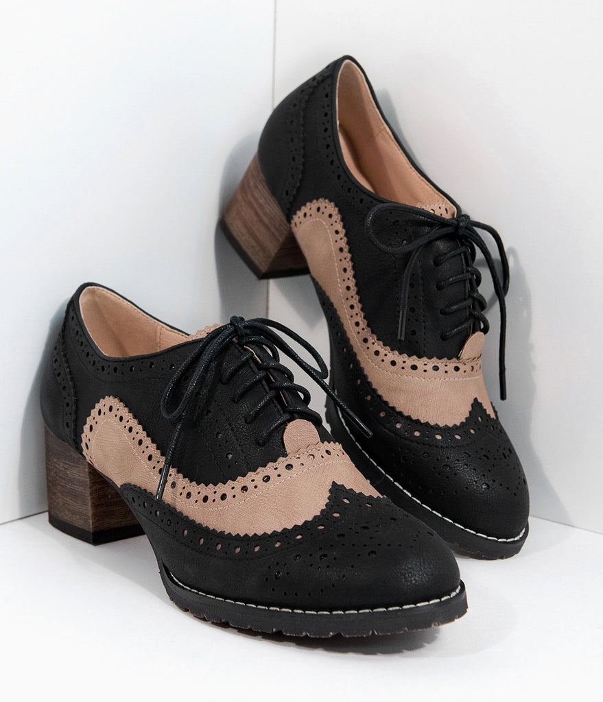 Vintage Style Black & Tan Leatherette Oxford Heels