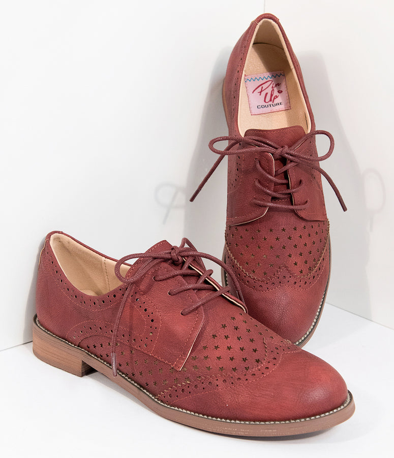 Retro Style Cherry Red Leatherette Oxford Shoes