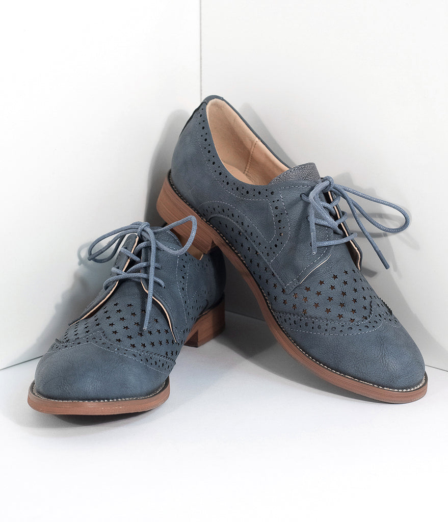Retro Style Stone Blue Leatherette Oxford Shoes ...