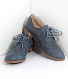 Retro Style Stone Blue Leatherette Oxford Shoes