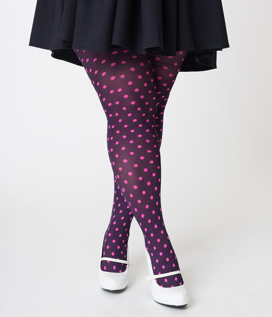 Plus Size Retro Style Purple & Pink Polka Dot Tights