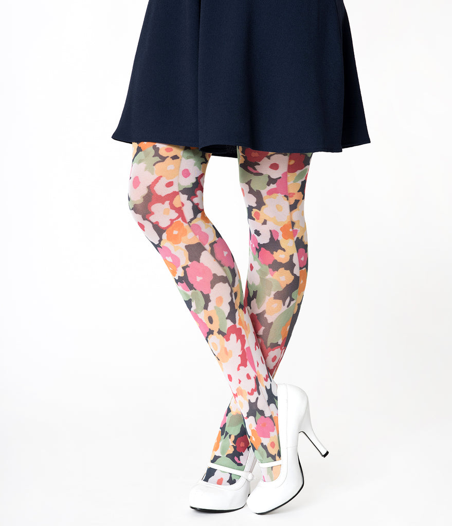 Retro Style Multicolor Flower Power Printed Tights