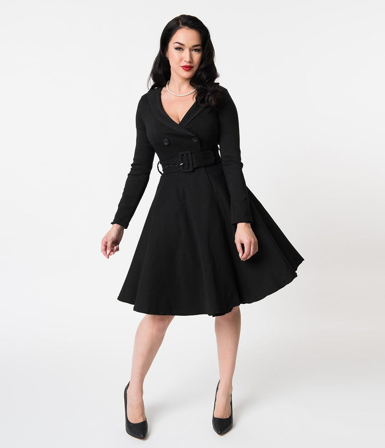Retro Style Black Double Breasted Swing Coat Dress
