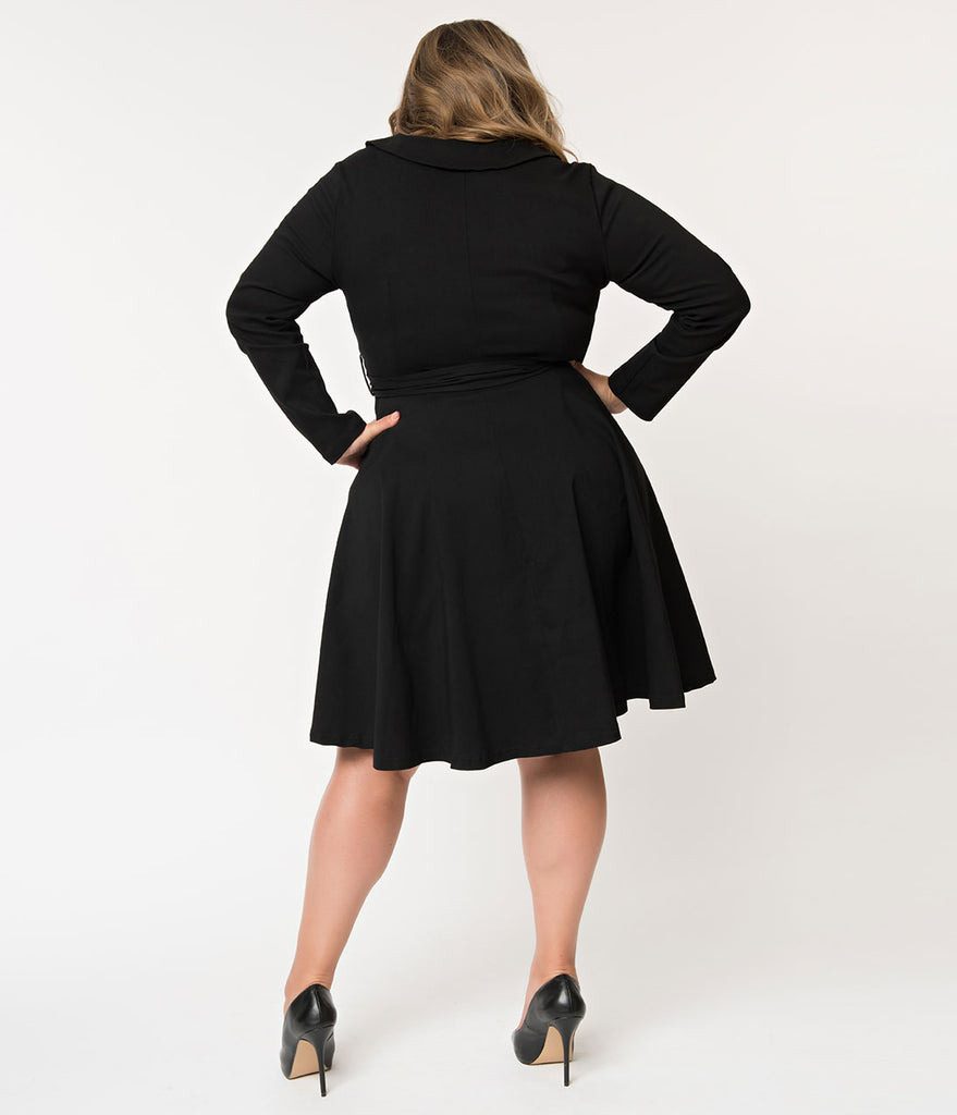 d952168d47bbc ... Plus Size Retro Style Black Double Breasted Swing Coat Dress ...