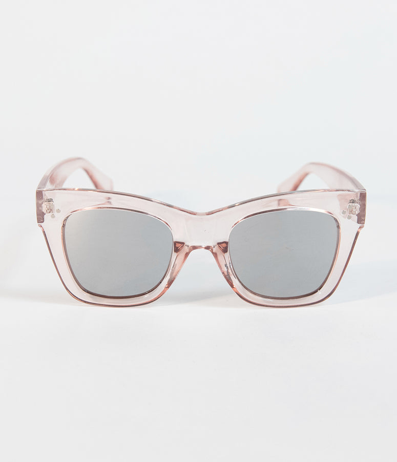 Retro Style Crystal Pink Close Up Square Sunglasses