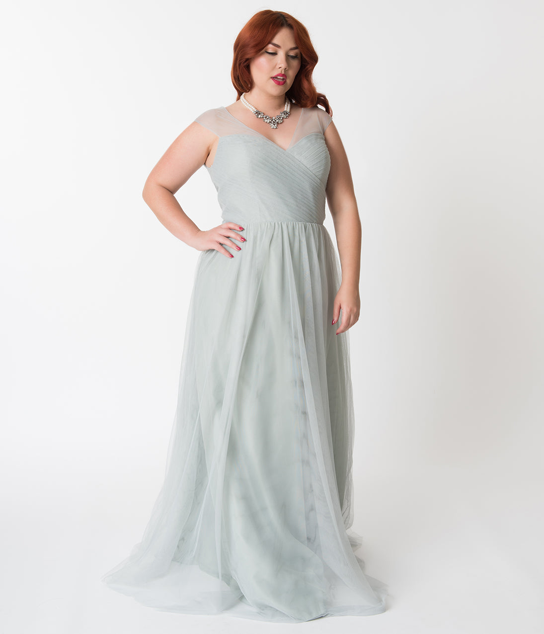 1940s Plus Size Dresses | Swing Dress, Tea Dress Plus Size Eucalyptus Green Mesh Wrapped Sweetheart Neckline Long Dress $110.00 AT vintagedancer.com