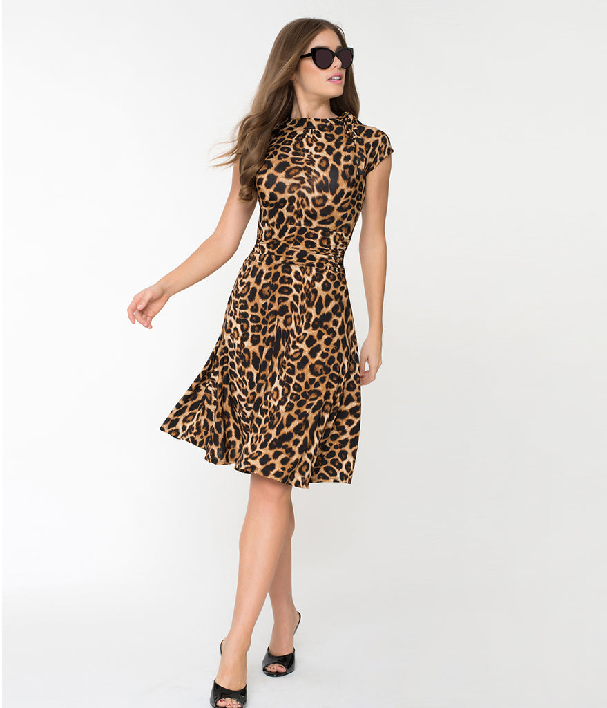 Folter Brown Leopard Print Cap Sleeve Bombshell Dress