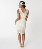 Unique Vintage 1920s Style Ivory Pearl Beaded Raphaelle Flapper Dress