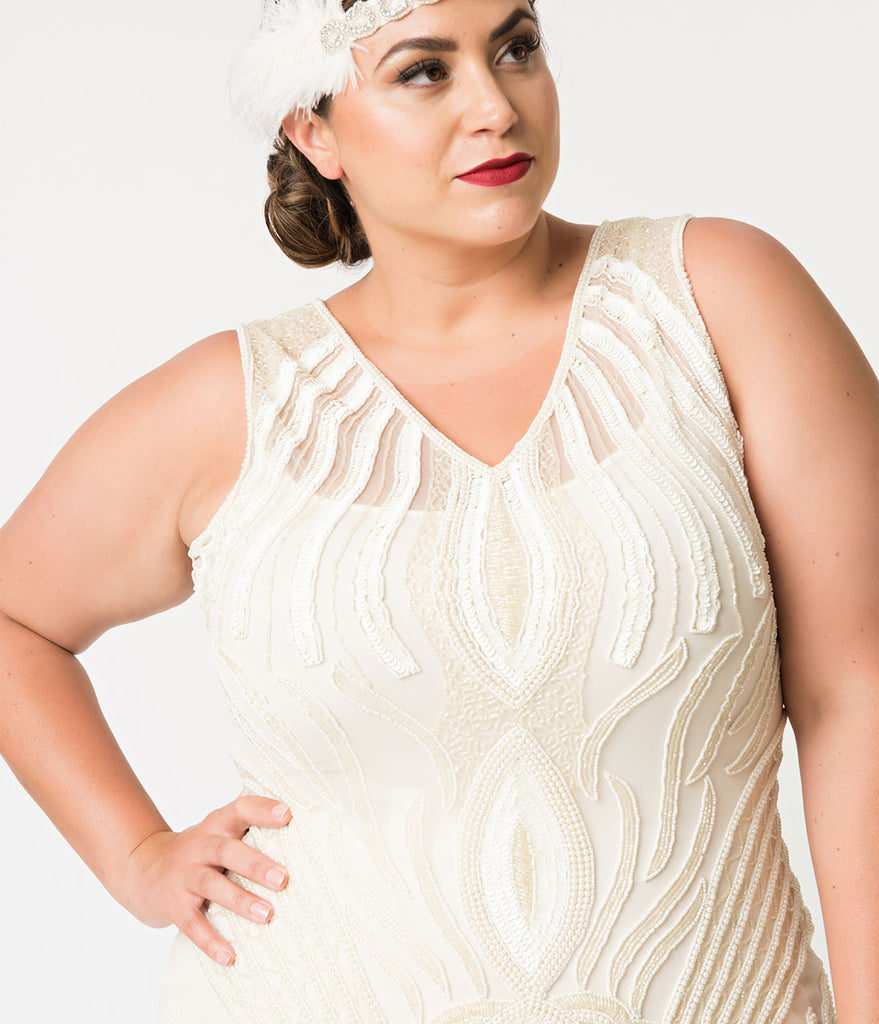Unique Vintage Plus Size 1920s Style Ivory Pearl Beaded Raphaelle Flapper Dress