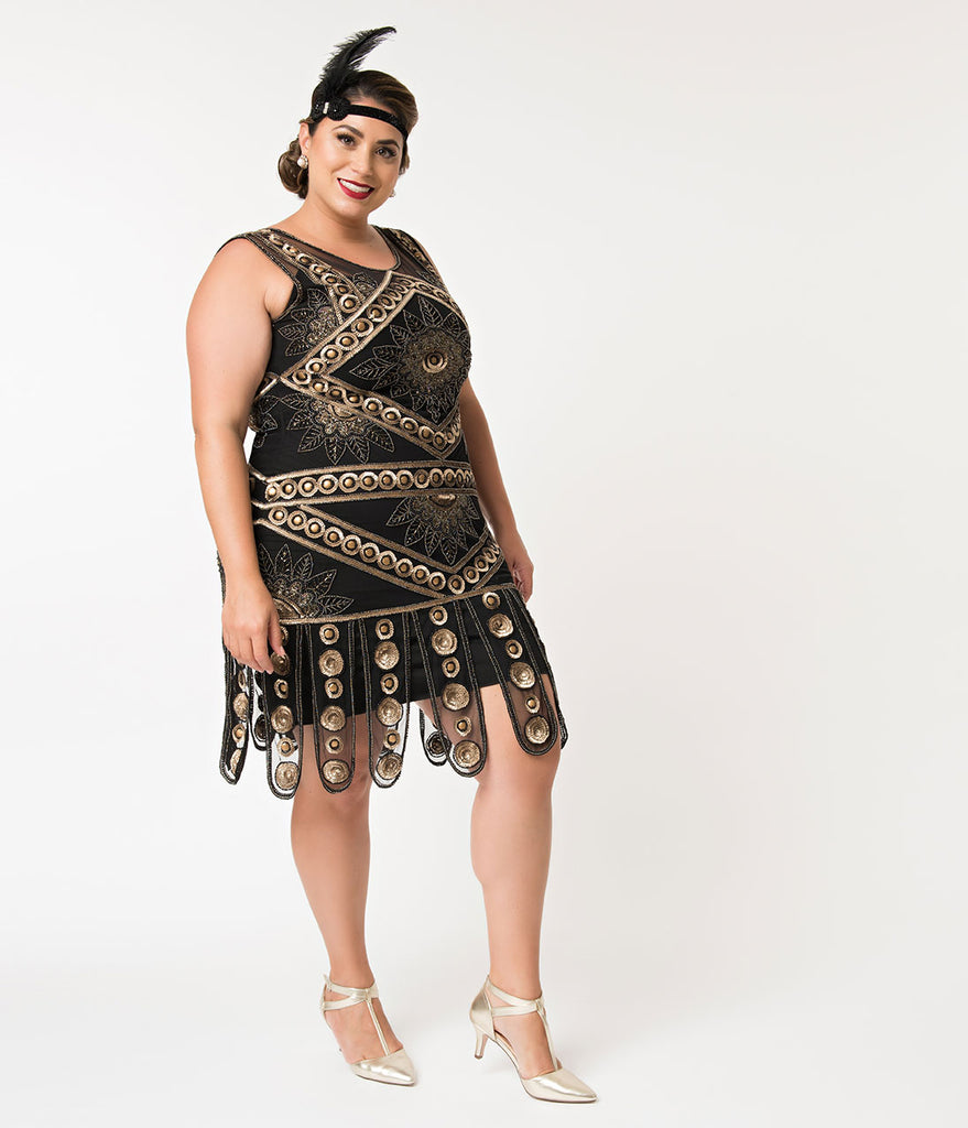 Unique Vintage Plus Size Deco Style Black & Bronze Sequin Berenice Flapper Dress