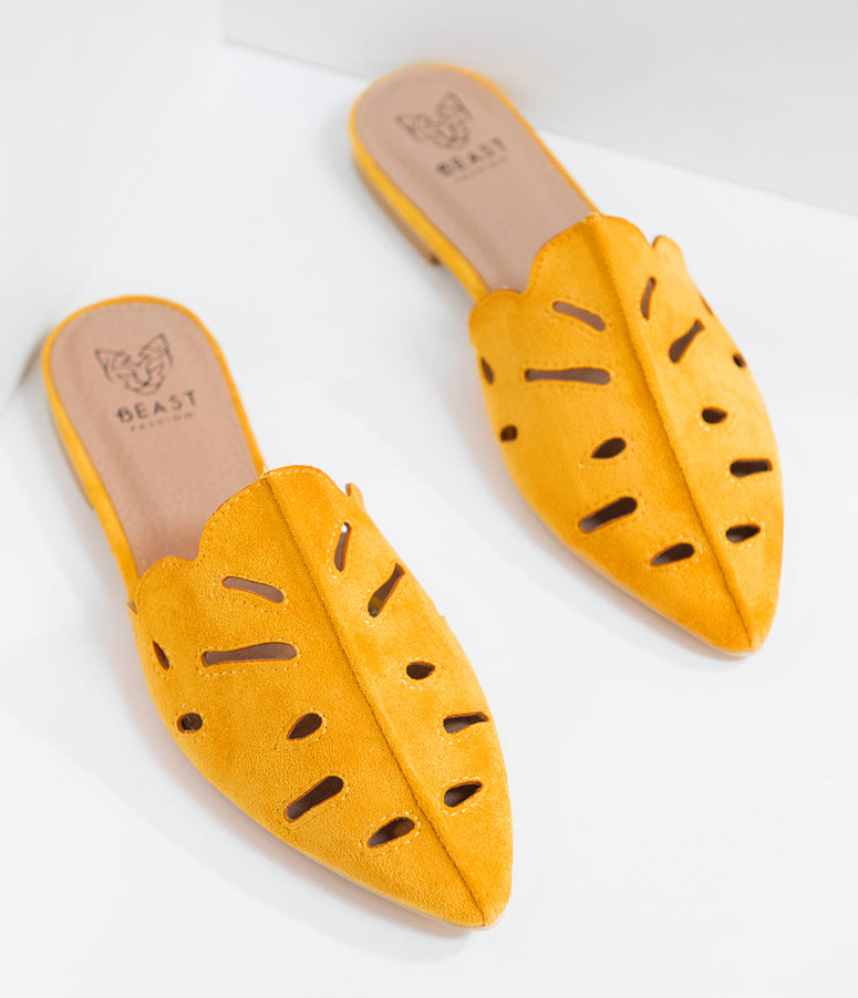 Retro Style Mustard Yellow Suede Pointed Toe Mules