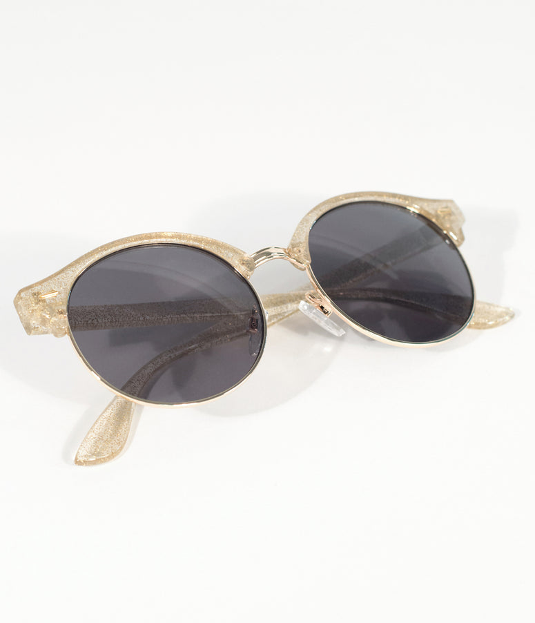 Crystal Gold Glitter Half Frame Round Sunglasses