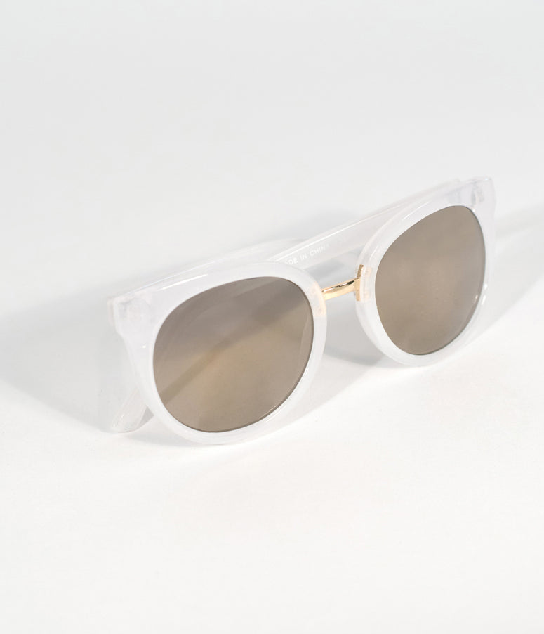 Frosted White Opaque Cat Eye Sunglasses