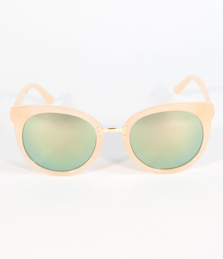 Blush Pink Opaque Cat Eye Sunglasses