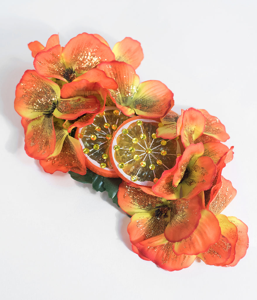Orange Delightful Slices Flower Clip