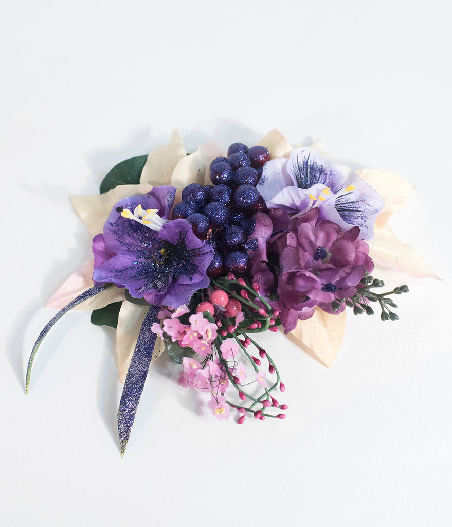 Purple Grape Bouquet Flower Hair Clip