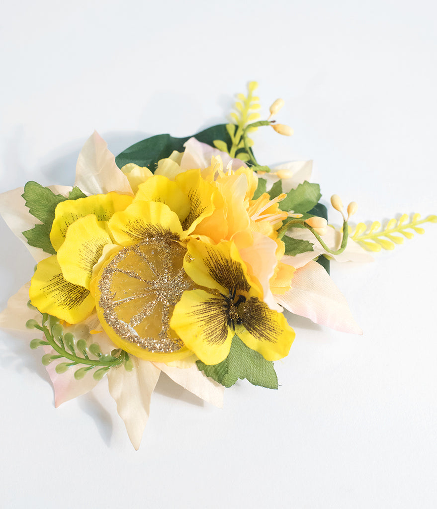 Yellow Lemon Drop Flower Hair Clip
