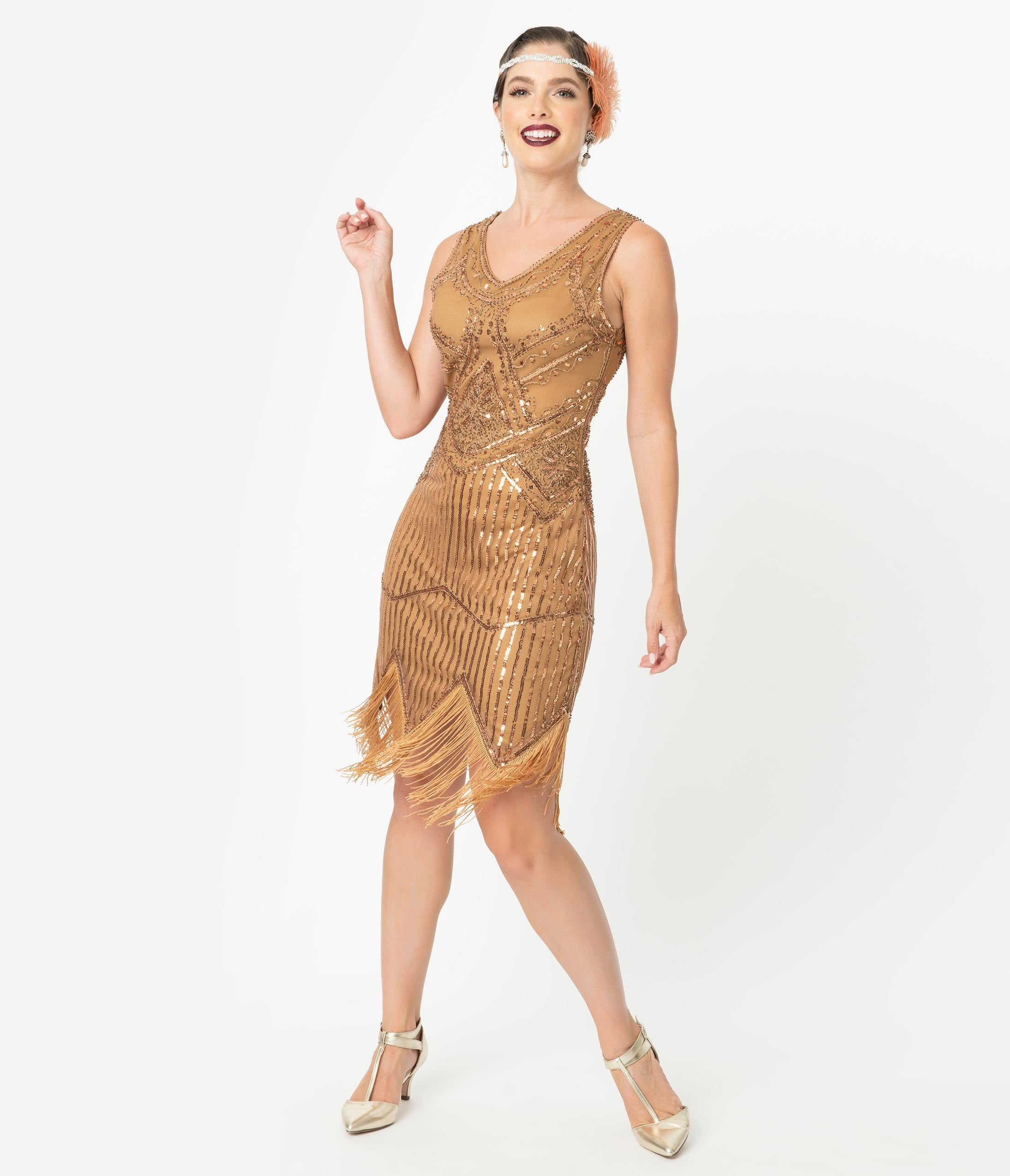 1920s Costumes: Flapper, Great Gatsby, Gangster Girl Unique Vintage 1920S Bronze Beaded Sequin Juliette Fringe Flapper Dress $98.00 AT vintagedancer.com