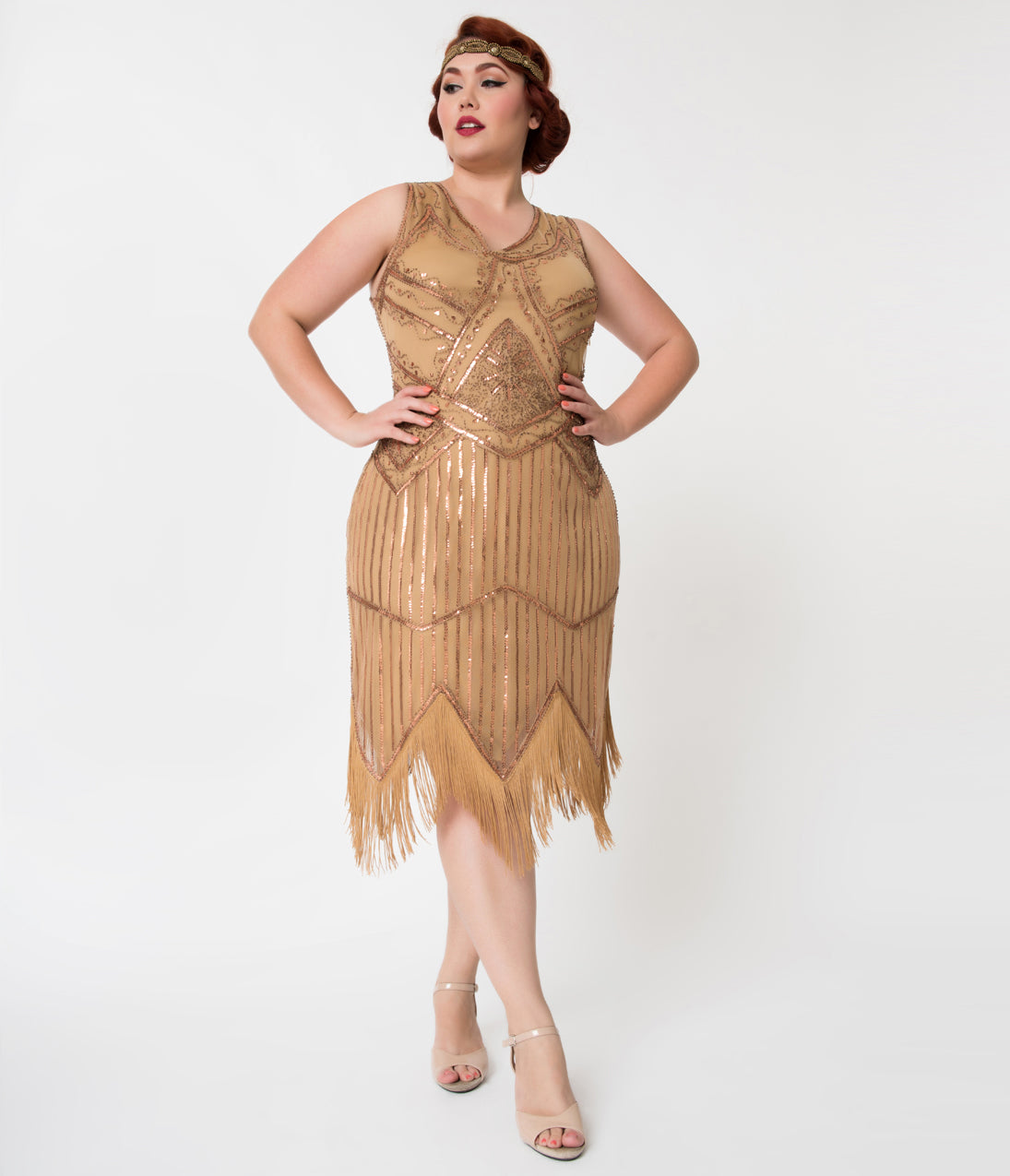 1920s Evening Gowns by Year Unique Vintage Plus Size 1920S Bronze Beaded Sequin Juliette Fringe Flapper Dress $28.00 AT vintagedancer.com