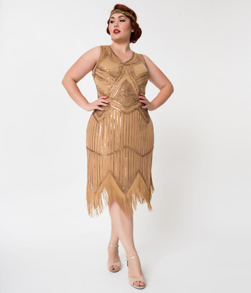 Unique Vintage Plus Size 1920s Bronze Beaded Sequin Juliette Fringe Flapper Dress