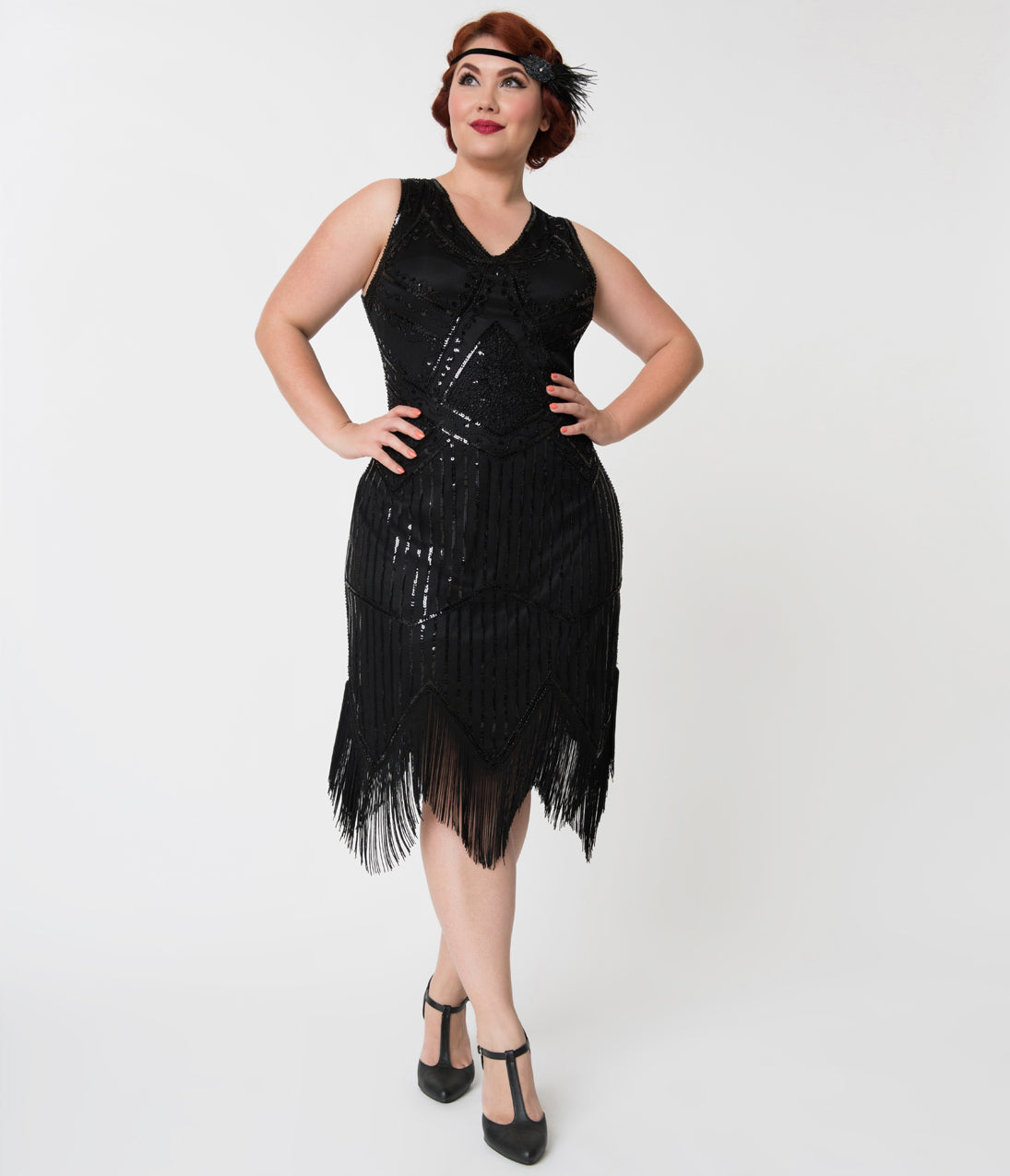 20s Dresses | 1920s Dresses for Sale Unique Vintage Plus Size 1920S Black Beaded Sequin Juliette Fringe Flapper Dress $68.00 AT vintagedancer.com