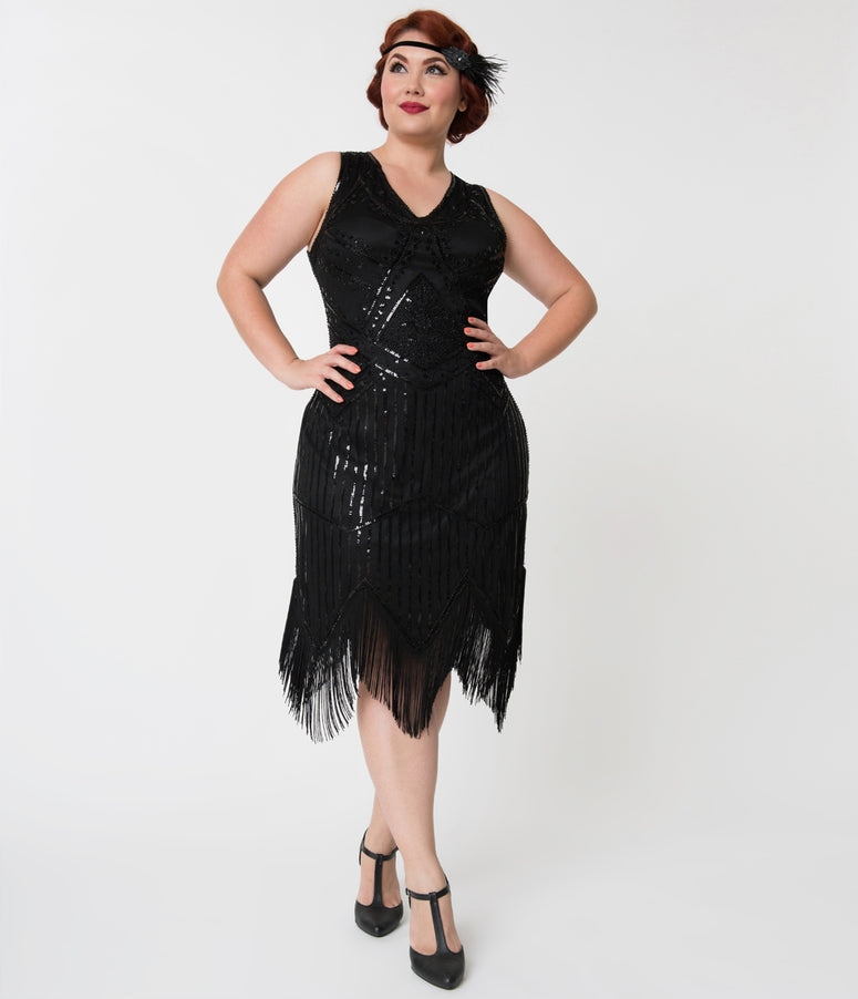 Unique Vintage Plus Size 1920s Black Beaded Sequin Juliette Fringe Flapper Dress