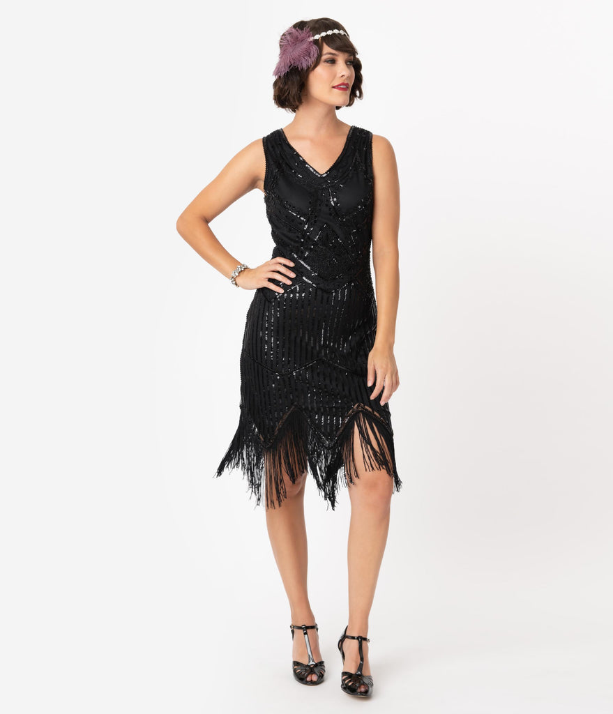 Unique Vintage 1920s Black Beaded Sequin Juliette Fringe Flapper Dress