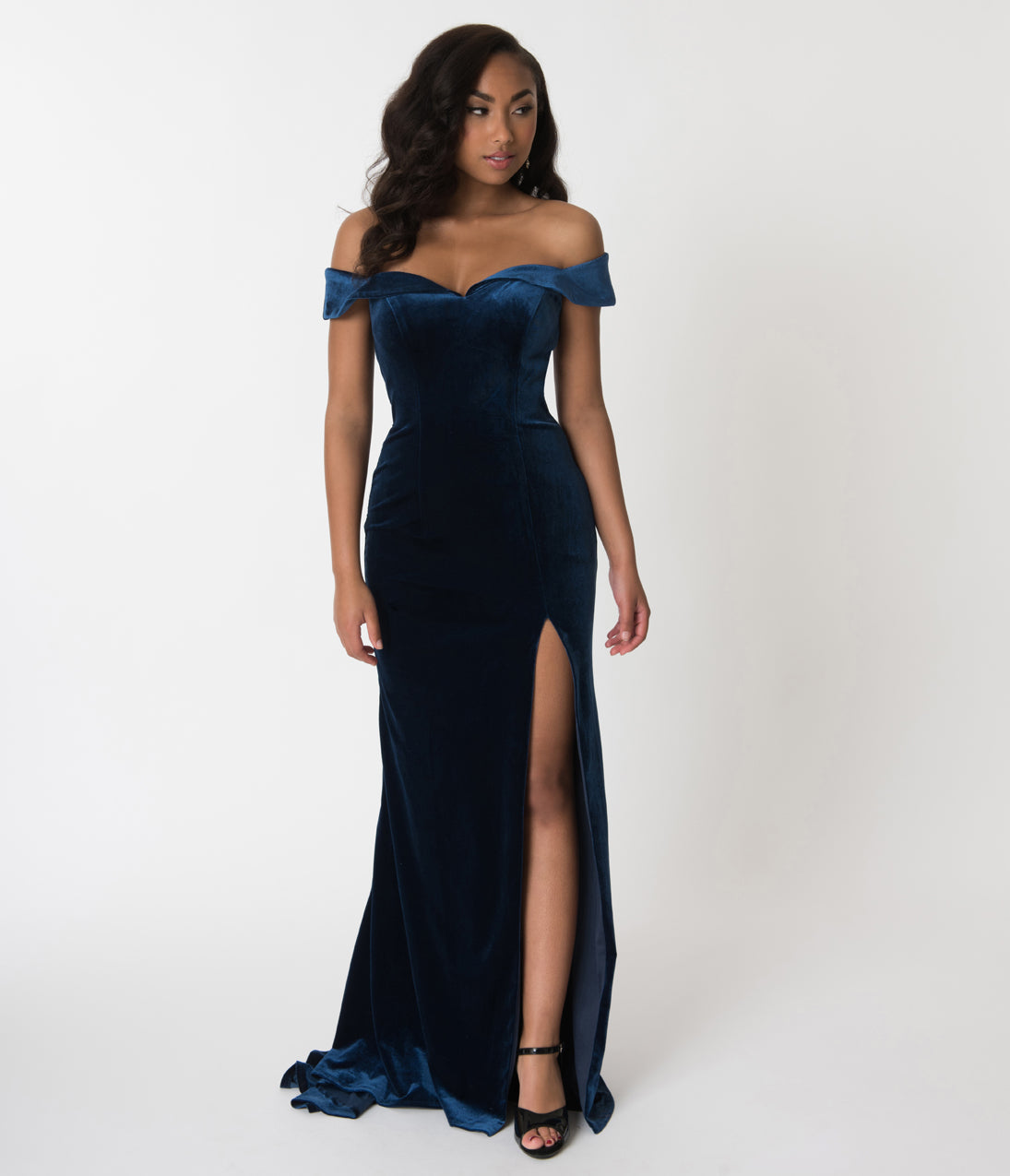 1940s Evening, Prom, Party, Cocktail Dresses & Ball Gowns Navy Blue Velvet Bateau Neckline Cap Sleeve Gown $180.00 AT vintagedancer.com