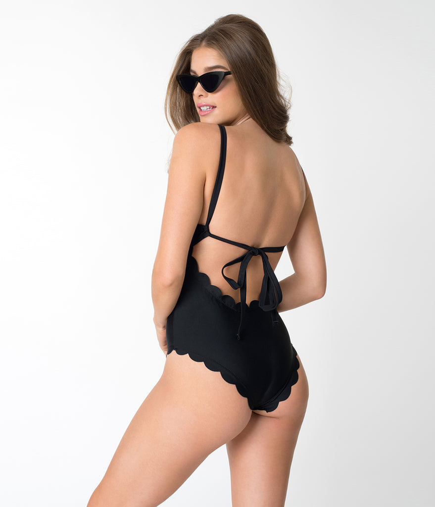 Black Scalloped Edge High Neck One Piece Swimsuit