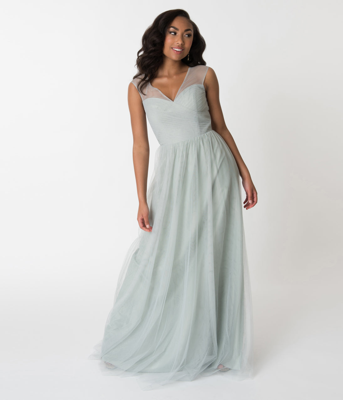 Vintage Evening Dresses and Formal Evening Gowns Eucalyptus Green Mesh Wrapped Sweetheart Neckline Long Dress $110.00 AT vintagedancer.com