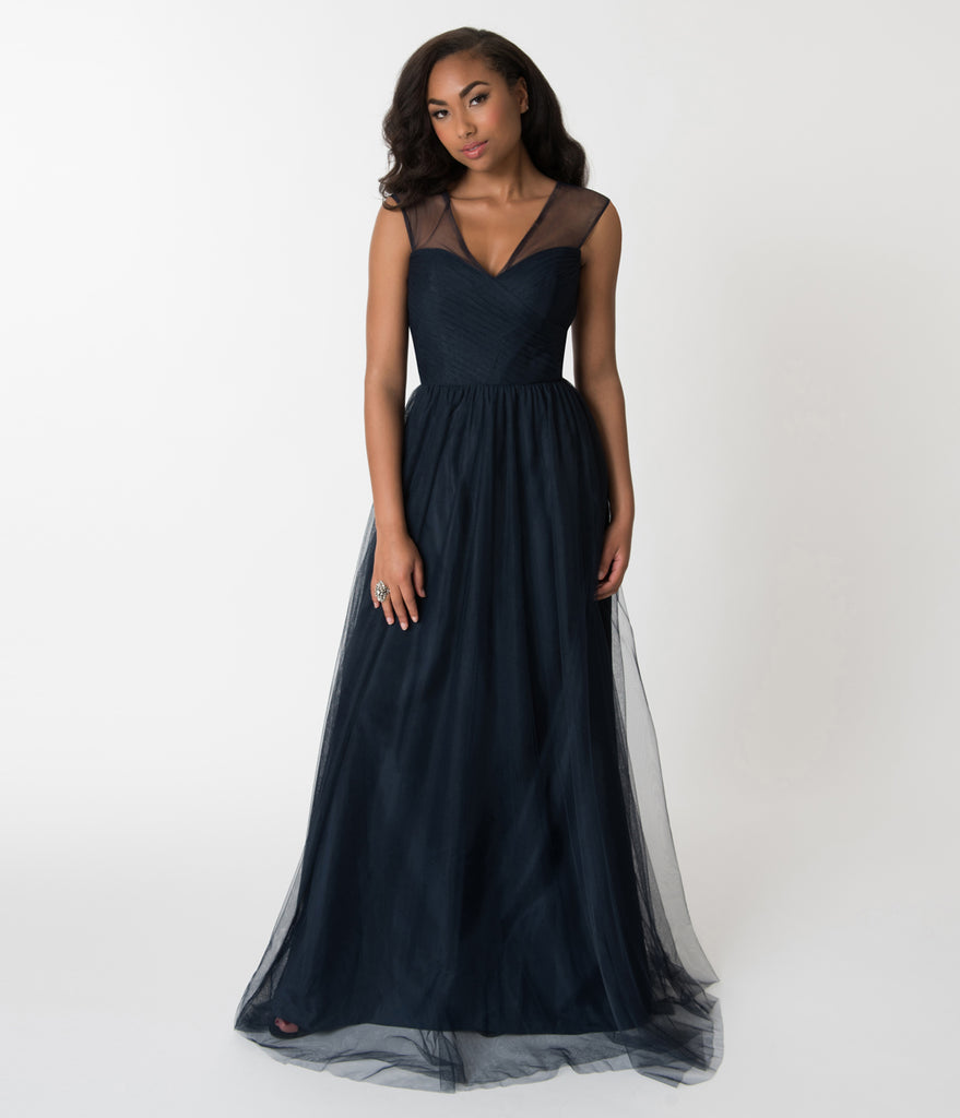 Navy Blue Mesh Wrapped Sweetheart Neckline Long Dress