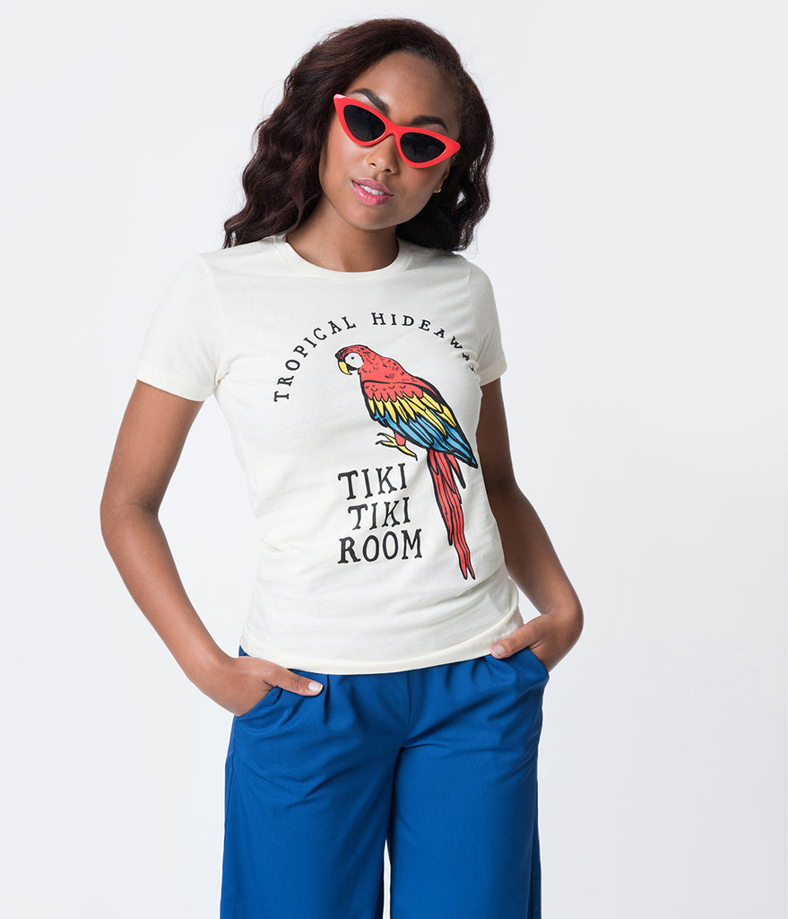 Lost Boys Club Ivory Tropical Hideaway Womens Tee