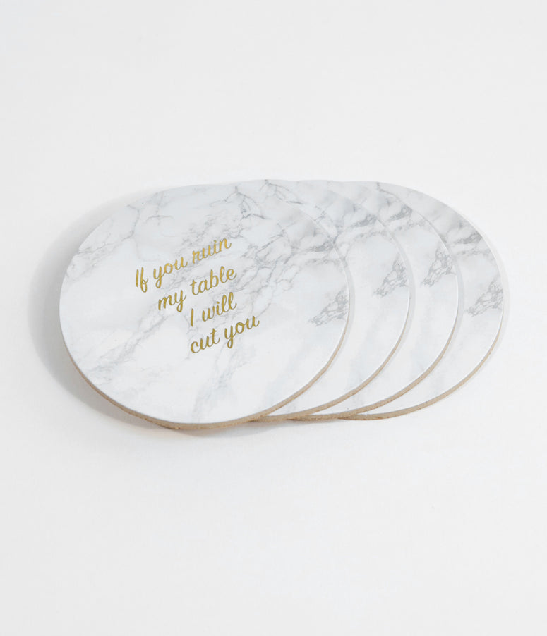 Ivory I Will Cut You Cork Coasters
