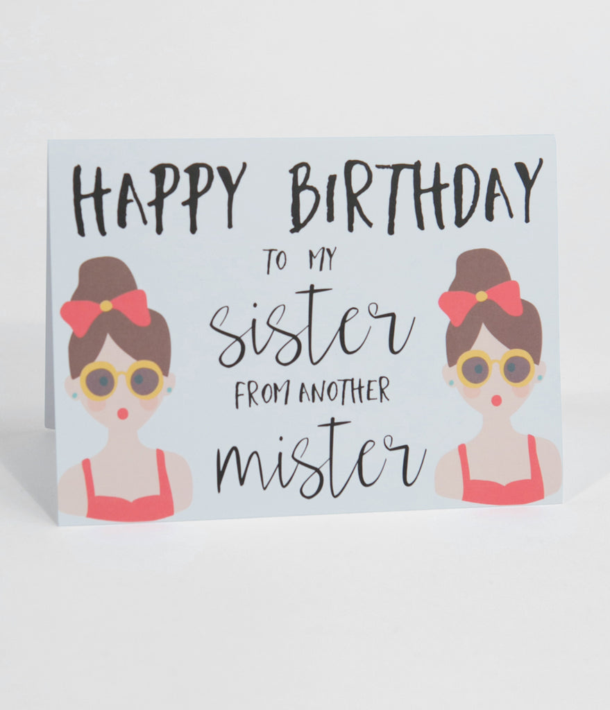 Happy Birthday Sister From Another Mister Greeting Card Unique Vintage