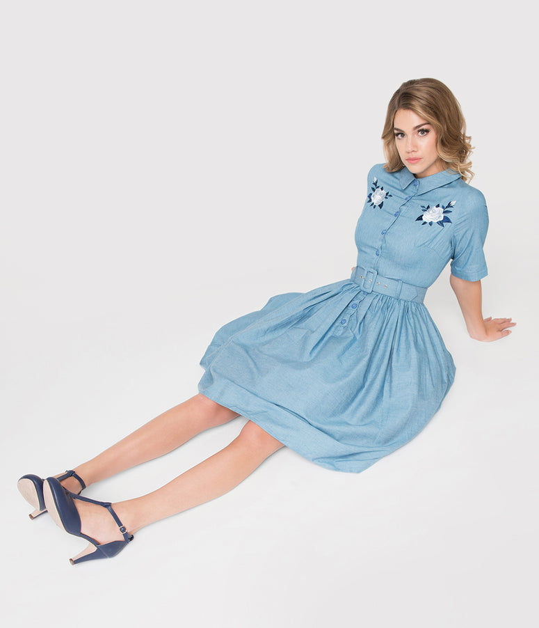 Collectif 1950s Style Denim Blue Western Rose Aria Shirtdress