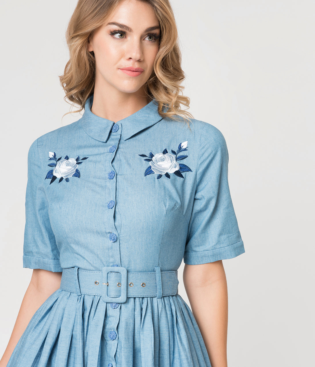 1950s Housewife Dress | 50s Day Dresses Collectif 1950S Style Denim Blue Western Rose Aria Shirtdress $92.00 AT vintagedancer.com