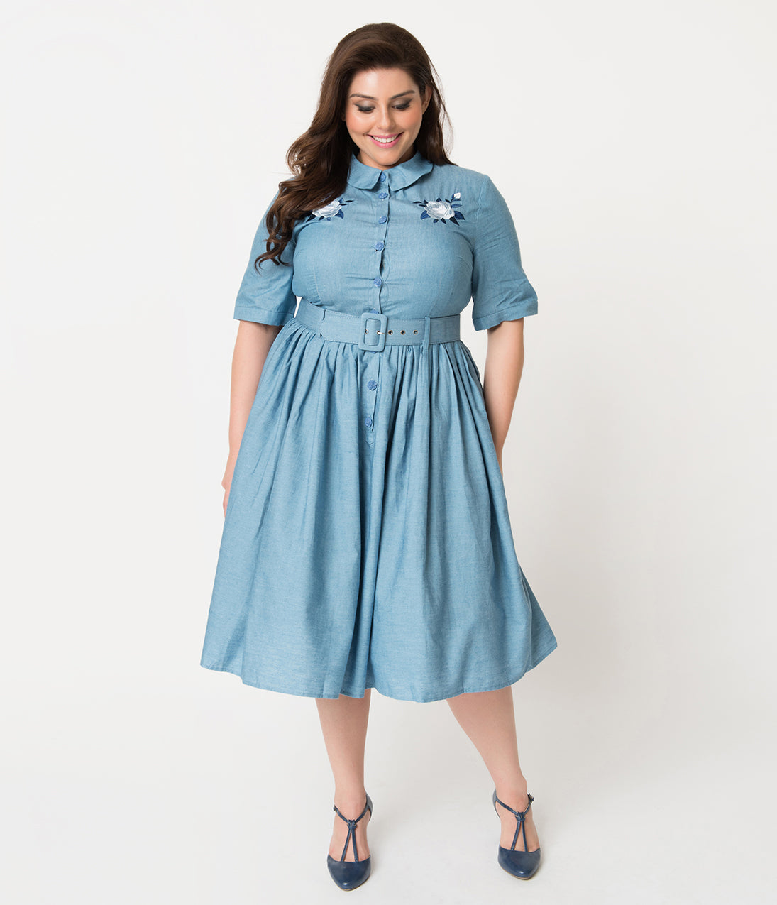 1940s Style Dresses | 40s Dress, Swing Dress Collectif Plus Size 1950S Style Denim Blue Western Rose Aria Shirtdress $92.00 AT vintagedancer.com