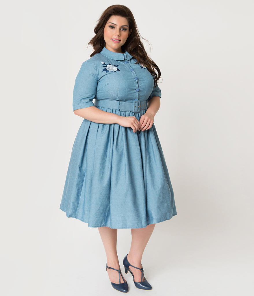 Collectif Plus Size 1950s Style Denim Blue Western Rose Aria Shirtdress