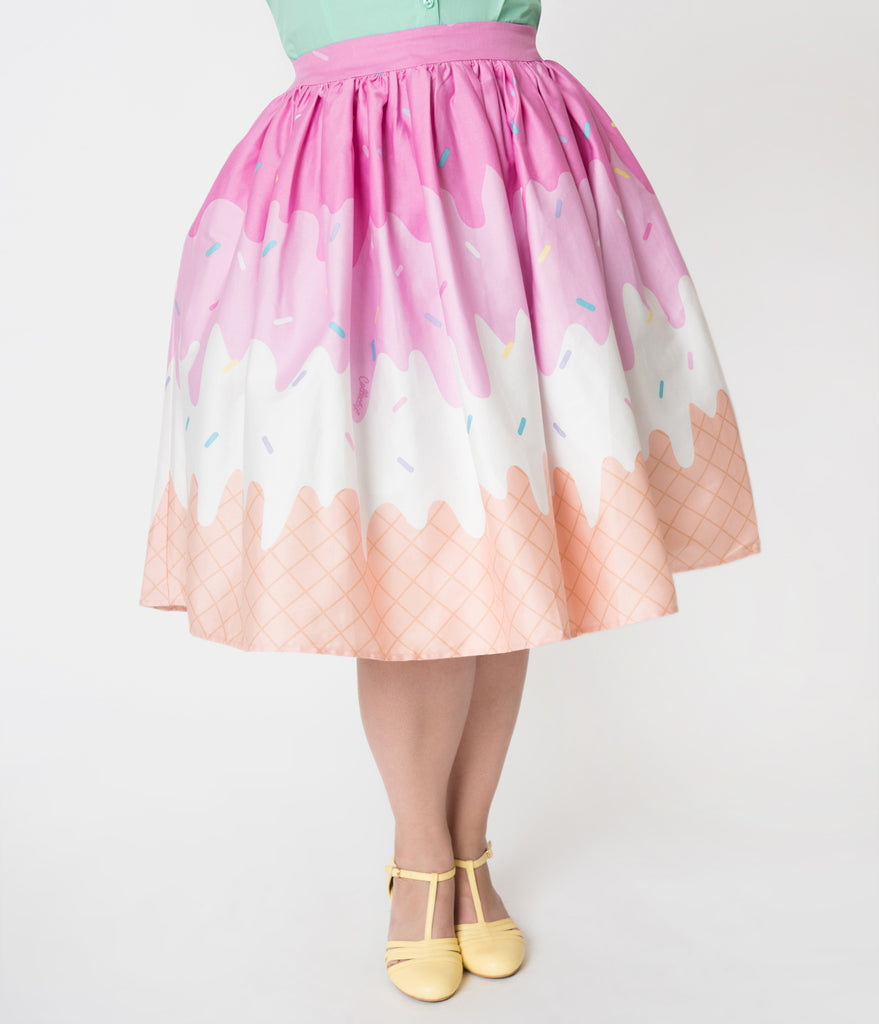 Collectif Plus Size Pink & White Ice Cream Print Cotton Jasmine Swing Skirt