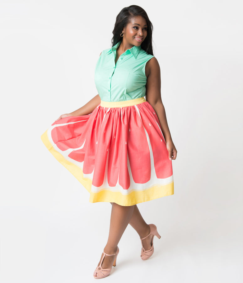 Collectif Plus Size Pink Grapefruit Woven Cotton Jasmine Swing Skirt