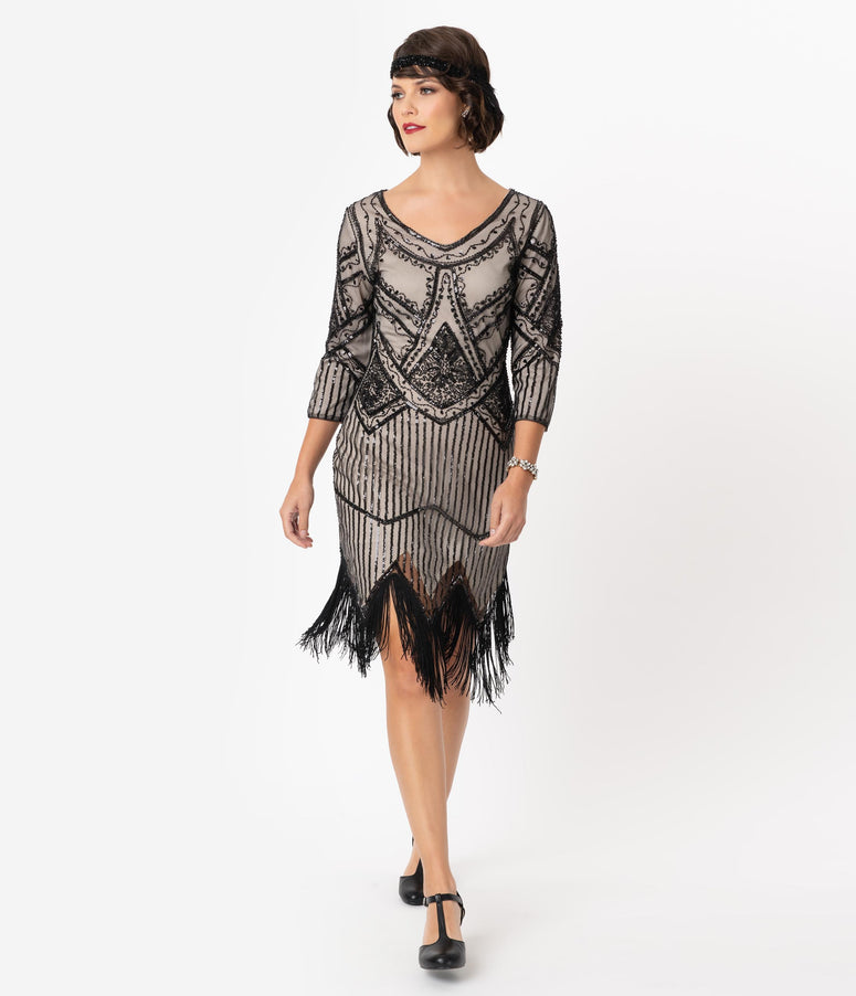 Unique Vintage 1920s Champagne & Black Beaded Sleeved Noemie Fringe Flapper Dress