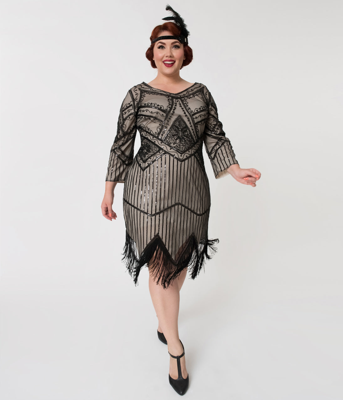 1920s Evening Dresses & Formal Gowns Unique Vintage Plus Size 1920S Champagne  Black Beaded Sleeved Noemie Fringe Flapper Dress $98.00 AT vintagedancer.com