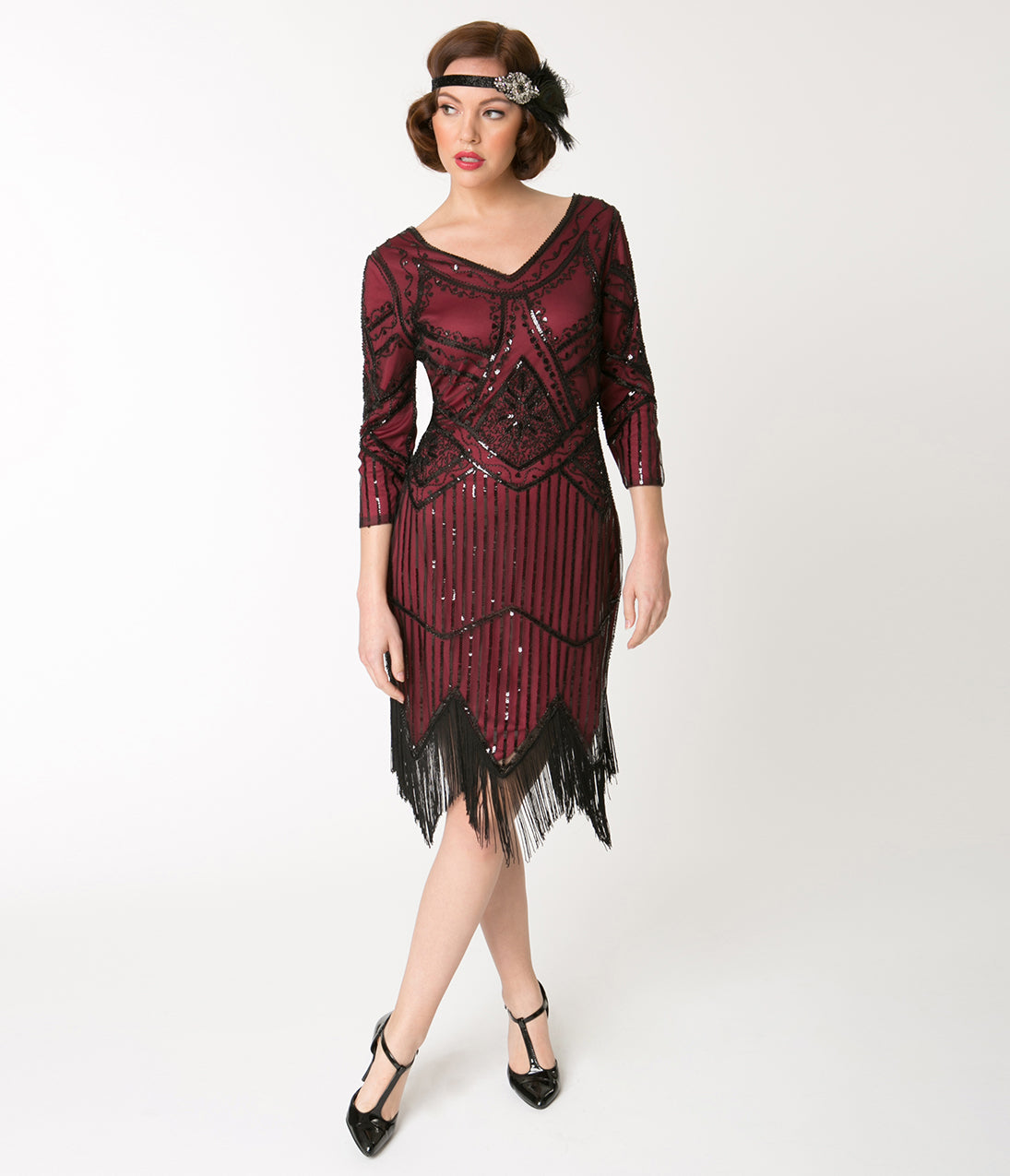 Vintage Christmas Gift Ideas for Women Unique Vintage 1920S Burgundy Beaded Sleeved Noemie Fringe Flapper Dress $63.00 AT vintagedancer.com