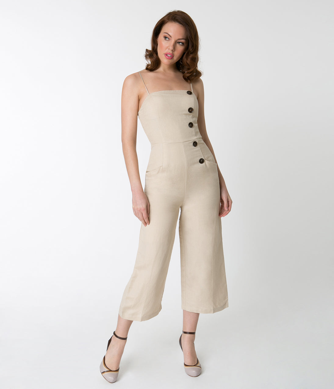 1950s Pants & Jeans- High Waist, Wide Leg, Capri, Pedal Pushers Retro Style Nude Linen Spaghetti Strap Capri Jumpsuit $58.00 AT vintagedancer.com