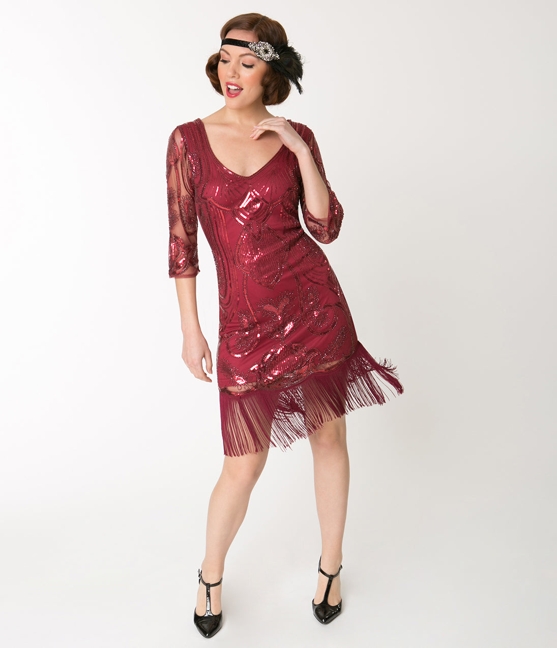 1920s Evening Dresses & Formal Gowns Unique Vintage Burgundy Red Sequin Margaux Sleeved Fringe Flapper Dress $43.00 AT vintagedancer.com